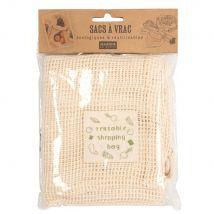 Ecru cotton net bag (x2) (16x22x0cm) - Maisons du Monde