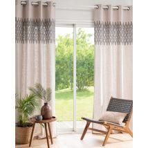 Einelner Vorhang mit Ösen, beige und anthrazitgrau bedruckt, 140x250cm - Beige - 140x250x0cm - Maisons du Monde