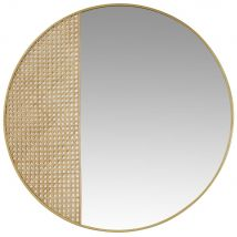 Espejo de metal dorado de rejilla de mimbre D.91 - Marrón - 90.5x90.5x2cm - Maisons du Monde