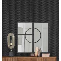 Espejos de metal negro (x3) 100x100 - Negro - 100x100x2cm - Maisons du Monde