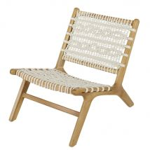 Garden armchair in off-white rope and solid acacia (81.5x72x60cm) - Maisons du Monde