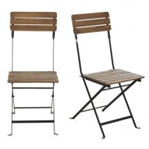 Garden chairs in solid acacia and black metal (x2) (38x89x49.5cm) - Maisons du Monde