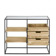 Gewerbemöbel aus Metall, Glas und massivem Mangoholz, B100cm - Beige - 100x80x40cm - Maisons du Monde