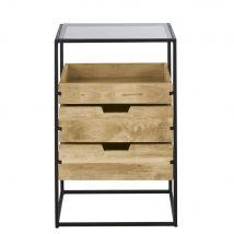 Gewerbemöbel aus Metall, Glas und massivem Mangoholz, B50cm - Beige - 50x80x40cm - Maisons du Monde