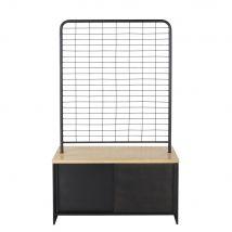 Gewerbemöbel mit 4 Türen, schwarzes Metall und massives Mangoholz - Schwarz - 99x164x50cm - Maisons du Monde
