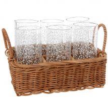 Glazen met wit plantenmotief (x6) en houder van rotan - Doorzichtig - 0x0x0cm - Maisons du Monde
