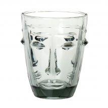 Grijs glas in gezichtsvorm - 8.2x10x8.2cm - Maisons du Monde