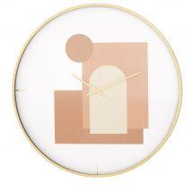 Horloge imprimée rose, rouge et blanche et métal doré D80 - Transparent - 80x80x6cm - Maisons du Monde