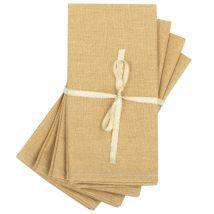 Jacquard-Webhandtücher, senfgelb mit Pailletten, Set aus 4 - Gelb - 42x42x0cm - Maisons du Monde