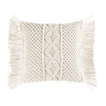 Kissen aus Baumwolle mit Makramee elfenbeinfarben 45x45 - Weiß - 45x45x10cm - Maisons du Monde
