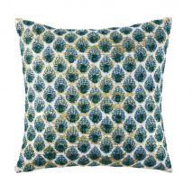 Kissen aus beigefarbener Baumwolle mit grafischen Motiven in Grün und Gold 45x45 - 45x45x10cm - Maisons du Monde