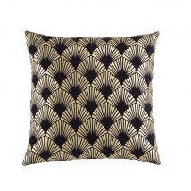 Kissen aus schwarzem Samt mit goldfarbenen grafischen Motiven 45x45 - Schwarz - 45x45x10cm - Maisons du Monde