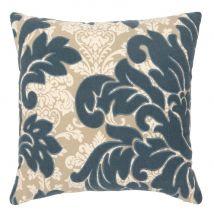 Kissenbezug, beige mit aufgestickten Blumenmotiven 40x40 - Blau - 40x40x0cm - Maisons du Monde