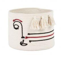 Korb aus weißer Baumwolle mit Gesichtmotiv, schwarz und rot, H20cm - Weiß - 25x20x25cm - Maisons du Monde