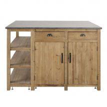 Kücheninsel mit 2 Türen und 2 Schubladen aus recyceltem Kiefernholz in gealterter Optik - Grau - 148x98x103cm - Maisons du Monde