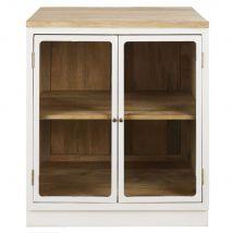 Küchenunterschrank mit 2 Glastüren aus massivem Mangoholz, weiß - Weiß - 80x90x65cm - Maisons du Monde