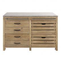 Küchenunterschrank mit 6 Schubladen aus recyceltem Kiefernholz in gealterter Optik - Braun - 140x90x66cm - Maisons du Monde