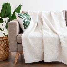 Manta color crudo bordada con motivos decorativos vegetales 230x250 - Beige - 0x0x0cm - Maisons du Monde