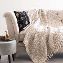 Manta de algodón de tejido jacquard con flecos 130 x 170 - Beige - 130x170x0cm - Maisons du Monde