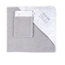Mantella da bagno neonato in cotone grigia e bianca - Grigio - 80x80x0cm - Maisons du Monde