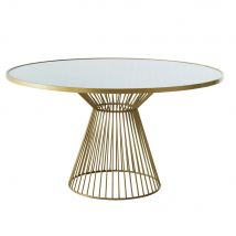 Mesa de comedor redonda de cristal blanqueado para 6 personas D.140 - Dorado - 140x77x140cm - Maisons du Monde