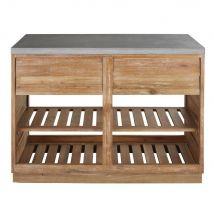 Mobile basso da cucina da esterno 2 cassetti in acacia massello e cemento, 120 cm - Marrone - 120x94x64cm - Maisons du Monde