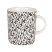 Mug in maiolica bianca e grigia con motivi grafici - Grigio - 8x10x0cm - Maisons du Monde