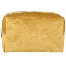 Mustard yellow plant-print toiletry bag (27x17x12cm) - Maisons du Monde
