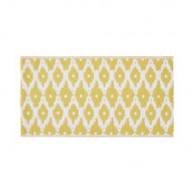 Outdoor-Teppich aus Polypropylen, beidseitig verwendbar, mit gelben und weißen Motiven - Weiß - 75x140x1cm - Maisons du Monde