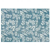 Outdoor-Teppich, türkisblau und bedruckt mit weißem Blumenmotiv 160x230 - Weiß - 160x230x1cm - Maisons du Monde