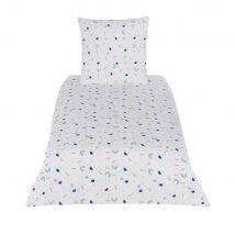 Parure de lit enfant en coton bleu, blanc et beige imprimé 140x200 - Blanc - 140x200x0cm - Maisons du Monde