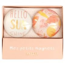 Pink, White and Yellow Printed Magnets (x2) - 5x1x5cm - Maisons du Monde
