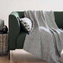 Plaid aus Baumwolle, schwarz und ecrufarben mit Fransen 160x210 - Schwarz - 160x210x0cm - Maisons du Monde