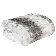 Plaid van grijze imitatiebont 150x180 - Grijs - 180x150x3cm - Maisons du Monde