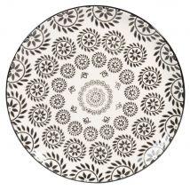 Lote de 6 : Plato llano de loza blanco/negro - Negro - 26.5x0x0cm - Maisons Du Monde