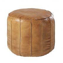 Pouf rotondo in pelle di capra marrone - Marrone - 46.5x39x46.5cm - Maisons du Monde