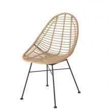 Resin Faux Rattan and Black Metal Garden Chair (54x84.5x60cm) - Maisons du Monde