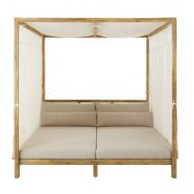 Resin Wicker and Light Taupe Canvas Outdoor 4-Poster Bed - 195x195x194cm - Maisons du Monde