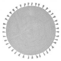 Round Grey Cotton Rug with Pom Poms D100 - 100x100x0cm - Maisons du Monde