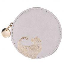 Round taupe purse with leopard print (10x10x1.5cm) - Maisons du Monde