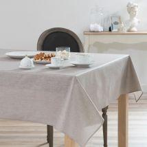 Sequin Tablecloth Cover in Beige Linen 140 x 250 (250x140x0cm) - Maisons du Monde