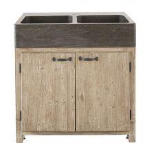 Spülenunterschrank mit 2 Türen aus vergrautem recyceltem Kiefernholz - Beige - 90x90x66cm - Maisons du Monde