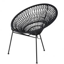 Stackable garden armchair in resin string and black metal (72x79x67cm) - Maisons du Monde