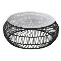 Tavolino basso da giardino rotondo in resina nera e vetro - Nero - 88x36x88cm - Maisons du Monde
