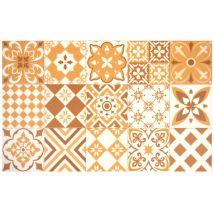 Vinyl-Teppich mit Zementfliesen-Motiven, ocker und weiß 50x80 - Gelb - 50x80x2cm - Maisons du Monde