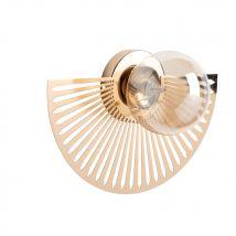 Wandlamp van bronskleurig metaal en glas - Goud - 35x24x16cm - Maisons du Monde