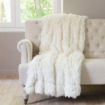 Witte plaid in imitatiebont 130x170 - 130x170x0cm - Maisons du Monde