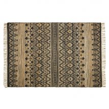 Woven jute and cotton rug with beige, brown and black print 160x230cm (160x230x0cm) - Maisons du Monde
