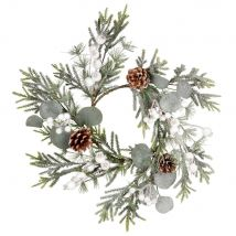 Wreath with green leaves, pine cones and small white balls - 46x8x46cm - Maisons du Monde