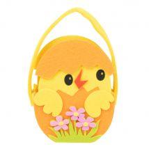 Yellow and Orange Felt Chick in Eggshell Bag - 12x15x7cm - Maisons du Monde